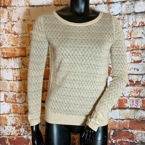 Anthropologie Sparrow Cream and Gold Long Sleeve
